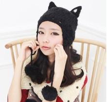 New Arrival 2015 Noval Woman's Hats Cat Shape Knitting Wool Lady's Headwear Fashion Ear Muff Women'a Caps For Female(China (Mainland))