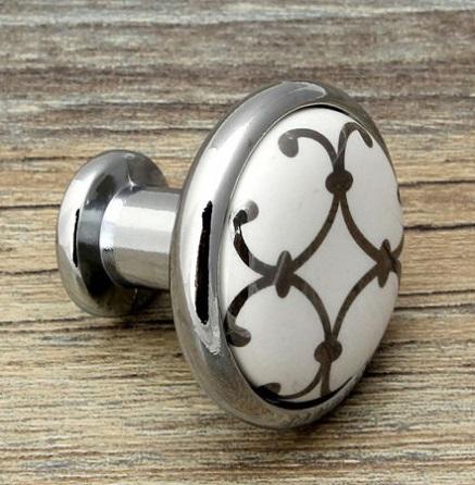 US Shipping 5pcs Silver Flower Printed Ceramic Zinc Alloy modern simple classic knob Kitchen Cabinet Furniture Handle knob(China (Mainland))