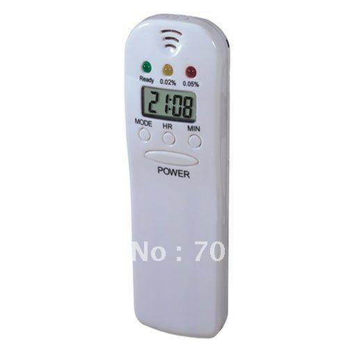 Free Shippinp! 5pcs/lot Keychain Alcohol Tester Breathalyzer with LED indicators & clock(China (Mainland))