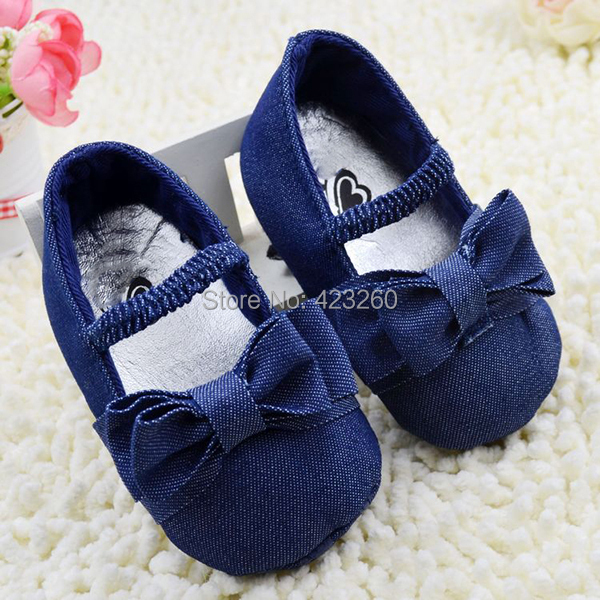 Infant Baby Girl Soft Sole Shoes Toddler Bowknot Crib Shoes Denim PrewalkerFree&Drop Shipping