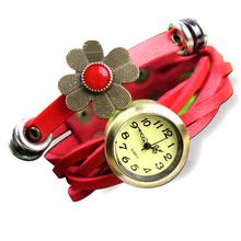 Women s Girl s Trendy Sunflower Decoration Multilayer Weave Leather Belt Bracelet Analog Quartz Movement Wrist