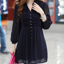 Women Blouses 2015 Summer Blouse V-Neck 5XL 6XL Plus Size sleeve Long Blouses KB532(China (Mainland))