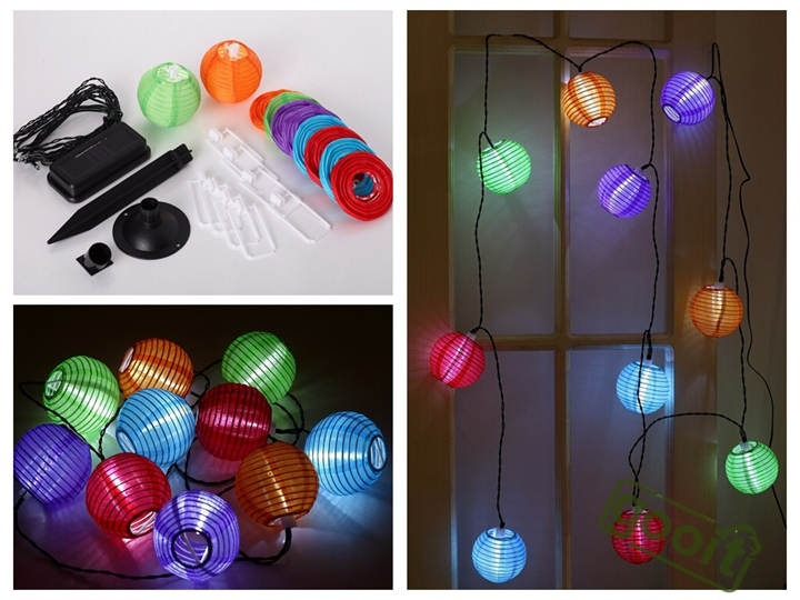 Outdoor Solar Powered 4.2M 10 LED Mini Colorful Lantern String Lighting For Holiday Parties RGB waterproof lamps(China (Mainland))