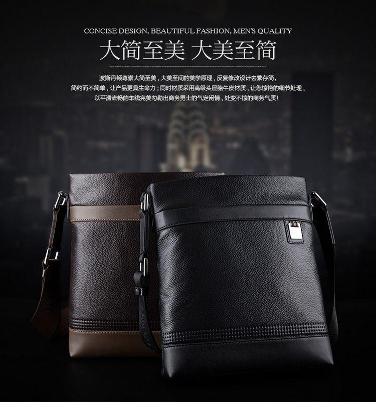 BOSTANTEN 100% GENUINE LEATHER Cowhide Shoulder Leisure Men's Bag Busi