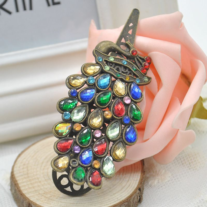 Ocean jewelry Accessories commodity peacock hairpin crystal hair pin hair accessory spring clip( No min order )FMHM258#S1(China (Mainland))