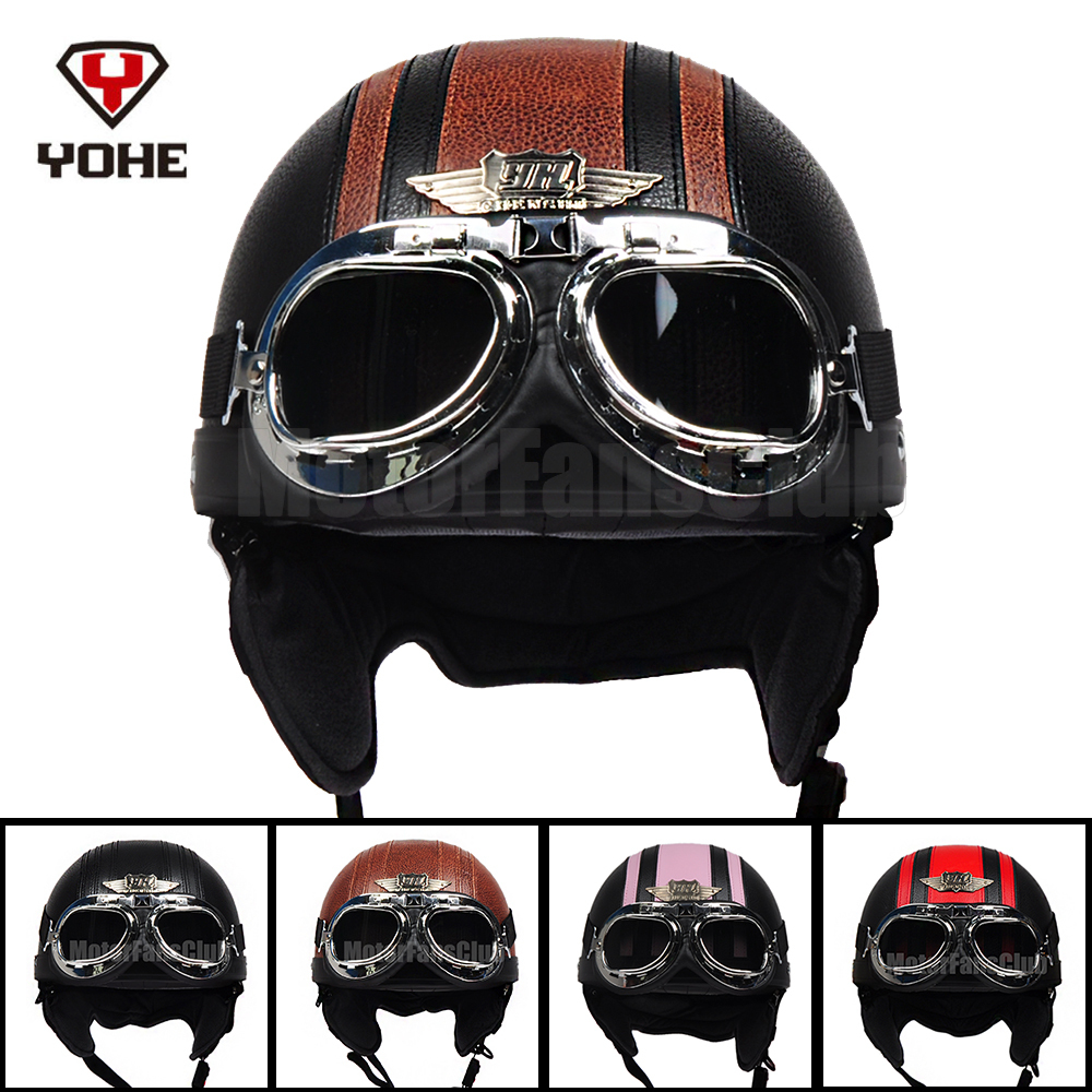 YOHE Vintage Motorcycle Bike Bicycle Cruiser Open Face Half Leather Helmet Retro Harley Goggles ABS Free Shipping(China (Mainland))