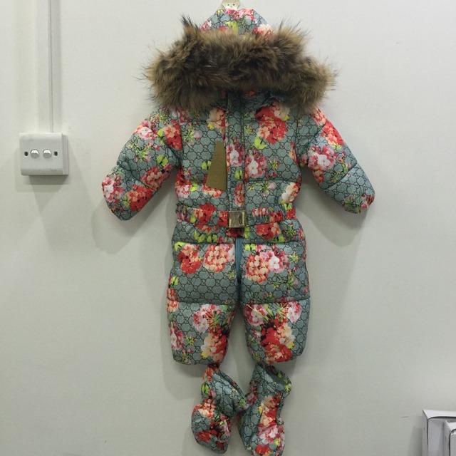 2016 Русская зима бренды snowsuit детские симпатичные капюшоном меховой воротник теплый комбинезон дети девочка ползунки пуховик