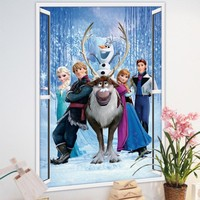 PVC Large princess 3D Christmas Wall Sticker Bedroom Decoration Olaf Wall Decal for Kids Rooms Decor ZY1421