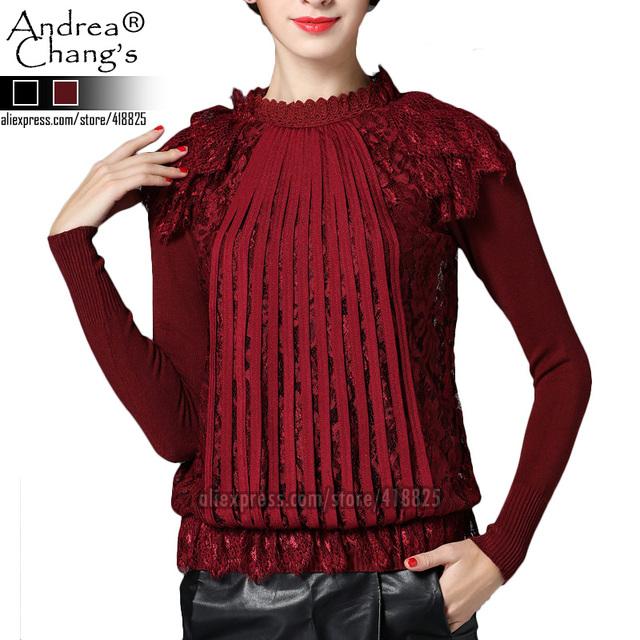 2016 осень зима дизайнер женщин свитера трикотажные темно-красный хаки вязаный свитер ...