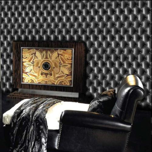 Buy modern 3d wallpaper leather black classic wall paper vinyl designer cushion - Wallpaper voor hoofdeinde ...