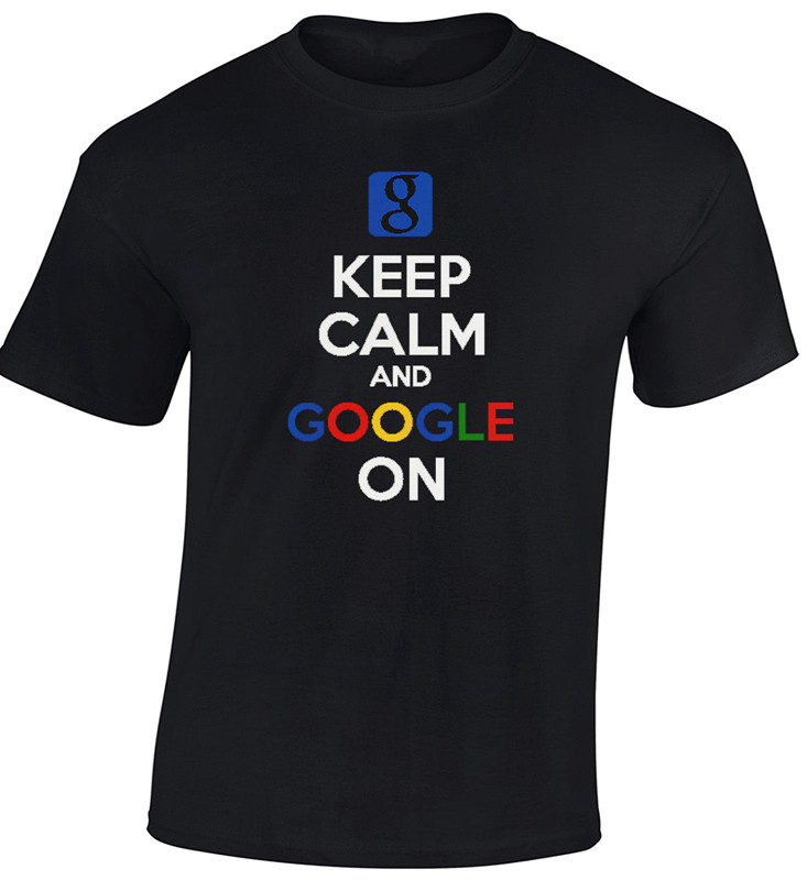 Keep Calm Google On Men T-Shirt Cool Funny Gift Search Internet Letter Printed Fashion Top Tee Summer New Design Casual Shirt(China (Mainland))
