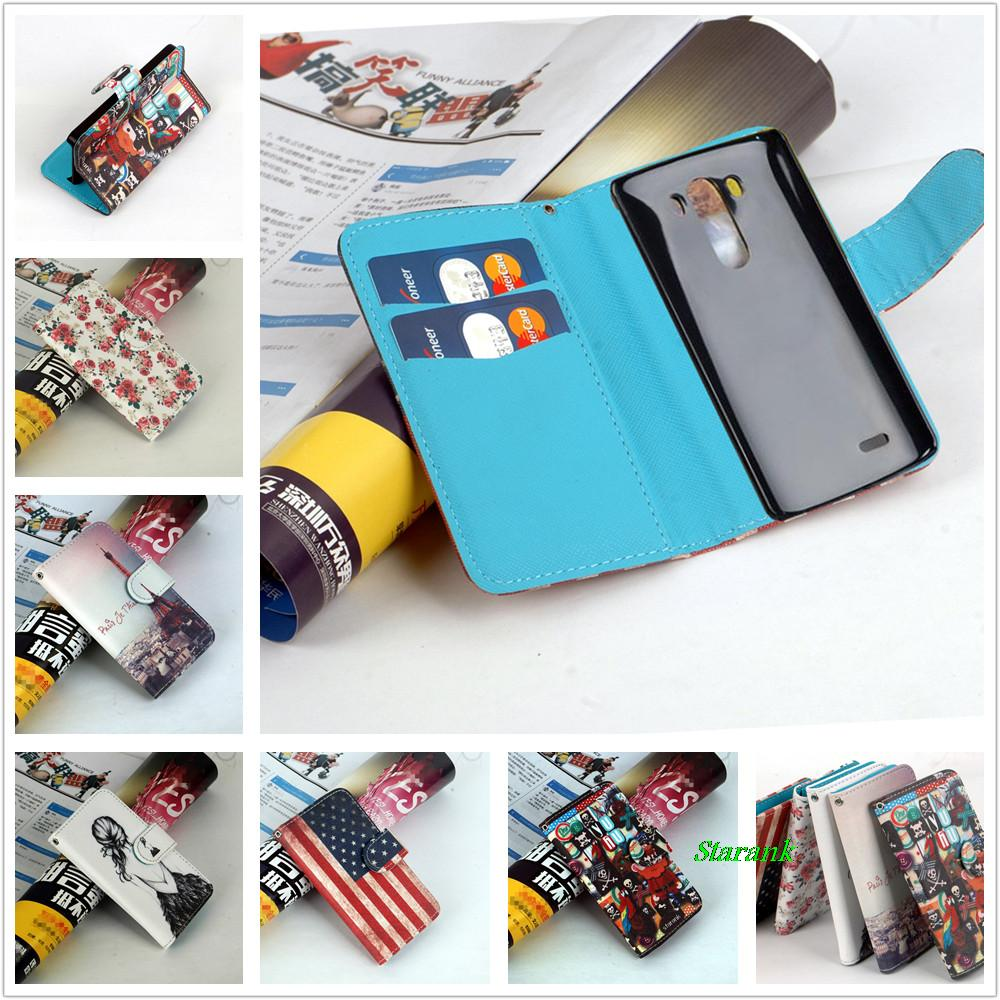 Starank Priting Stand Wallet Case for LG G3 D850 D855 D858 Wallet Cover with Bank Card Holder 5 Colors in Stock(China (Mainland))