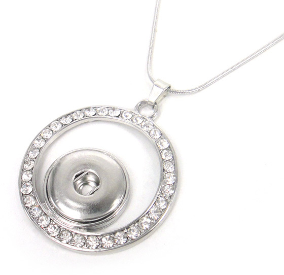 snake Chain Necklace with crystal circle DIY Fashion metal button Jewelry(China (Mainland))