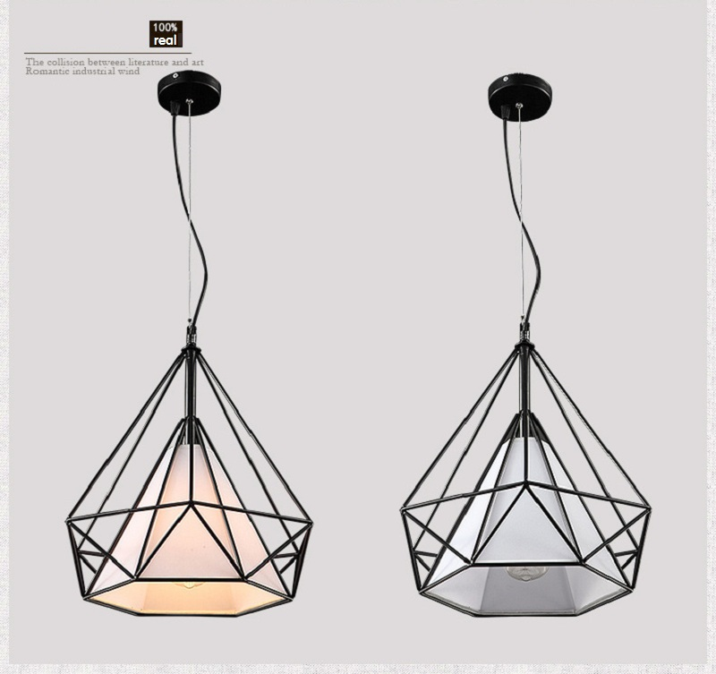 Artistic Diamond Shape Metal Pendant Lamp Creative Retro Iron hanging fixture light for Dining room/Living Room/Industry No bulb