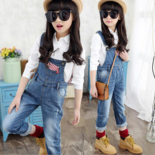 2016 spring girl overall kids child clothes cotton jeans solid jumpsuit denim trousers children's  jeans overalls for girls