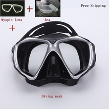 frogproof   diving Mask with myopic lens 150-900 degree ,myopia scuba gear,swimming mask,oculos de mergulho,gafas buceo(China (Mainland))