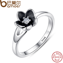 BAMOER 2016 New Collection Authentic Mystic Floral Flower Stackable Ring CZ & Black Enamel 925 Sterling Silver Jewelry PA7154(China (Mainland))