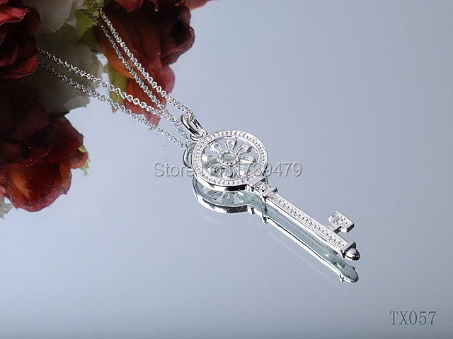 Free Shipping 925 sterling silver key pendant with chain jewelry with LOGO(China (Mainland))