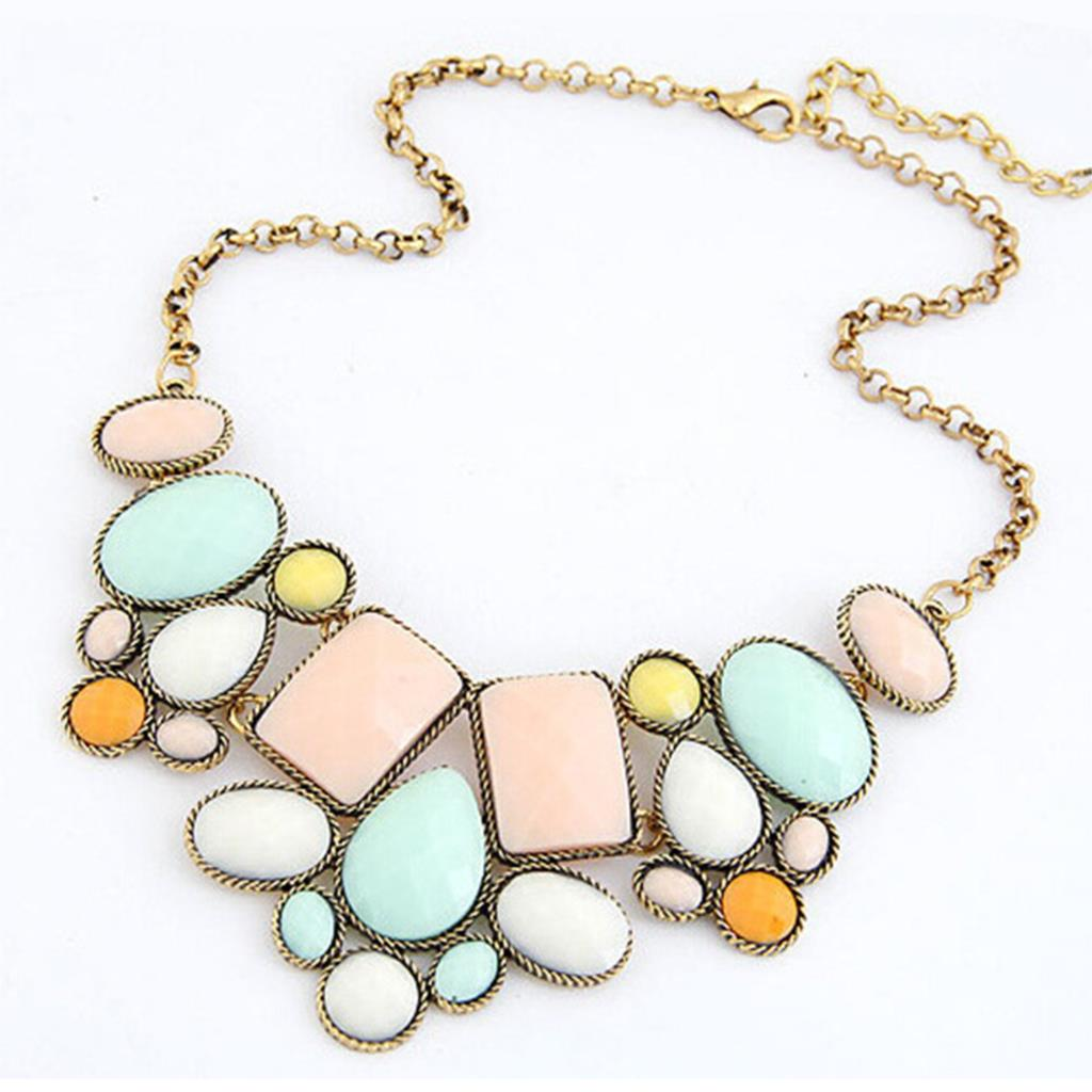 Women Geometry Resin Ally Pendant Necklace Chain Statement Multicolor Necklace Fashion Jewelry