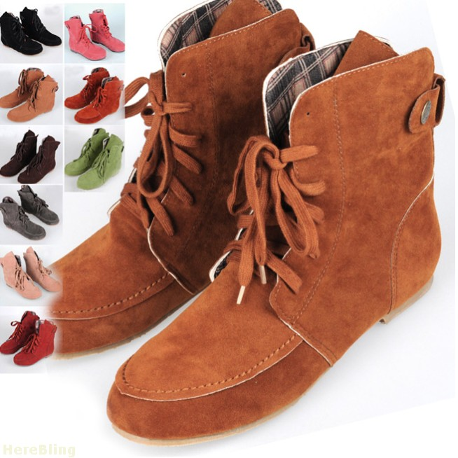 Flat Fashion Women Martin Ankle Winter Boots Artificial Suede Round Motorcycle Boots Big Size(China (Mainland))
