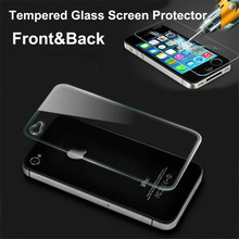 100sets 0.3mm 9H Explosion proof front+back tempered glass screen protector for iphone 4S 4G 4 glass guard film