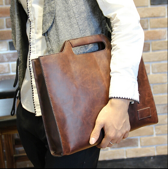 Bolsa crazy horse men leather briefcase vintage men's leather handbags maleta laptop shoulder bags carteira masculina B00008(China (Mainland))
