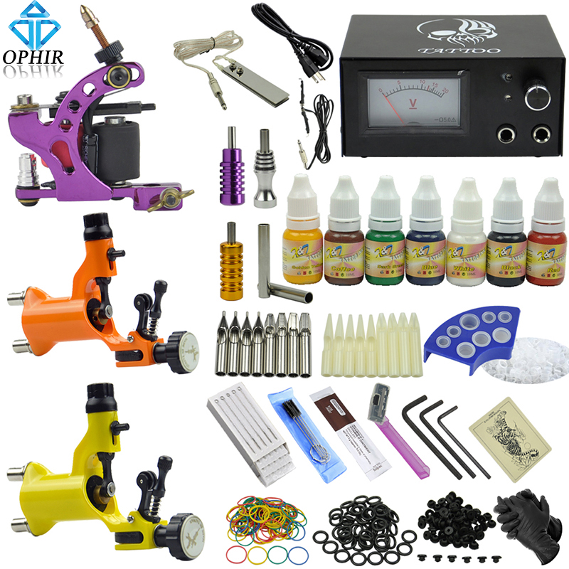 OPHIR 3  Induction Tattoo Machine Guns & 7 Colors Tattoo Inks & Needle & Grips Set Tattoo Needle Pigment Kits _TA077