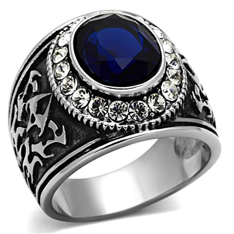 New arrival 2014 High polished IP plating male Blue Color Cubic Zirconia Stone luxury mens stainless stee ring Anniversary Gift(China (Mainland))