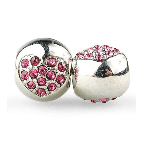 New 1Pc Silver Bead with Love Heart Pink Crystal Charm Bead Fit Women Diy Pandora Snake Chain Bracelets & Bangles Jewelry H1010(China (Mainland))