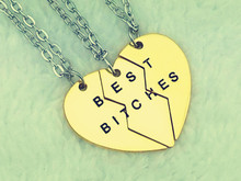 2015 New Style Fashion Broken Heart 3 Parts Gold Best Bitches Necklaces Pendants Jewelry For Women