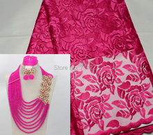 a set (5 yards african fushia tulle lace fabric with stones beads match pink crystal jewelry set earrings necklace bracelet set)(China (Mainland))