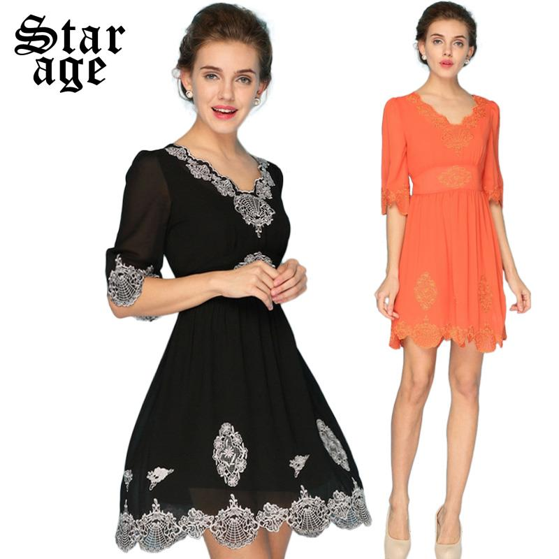 S-XXXL Summer Women Chiffon Dress 2015 Sexy Ladies Plus Size Hollow Embroidery V-Neck Half Sleeve Casual A-Line Dresses 13156(China (Mainland))