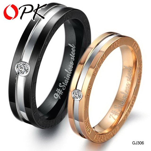 OPK Fashion CZ Diamond Lovers' Wedding Engagement Rings Couple's Stainless Steel Jewelry Christmas Gift For Women Men  306