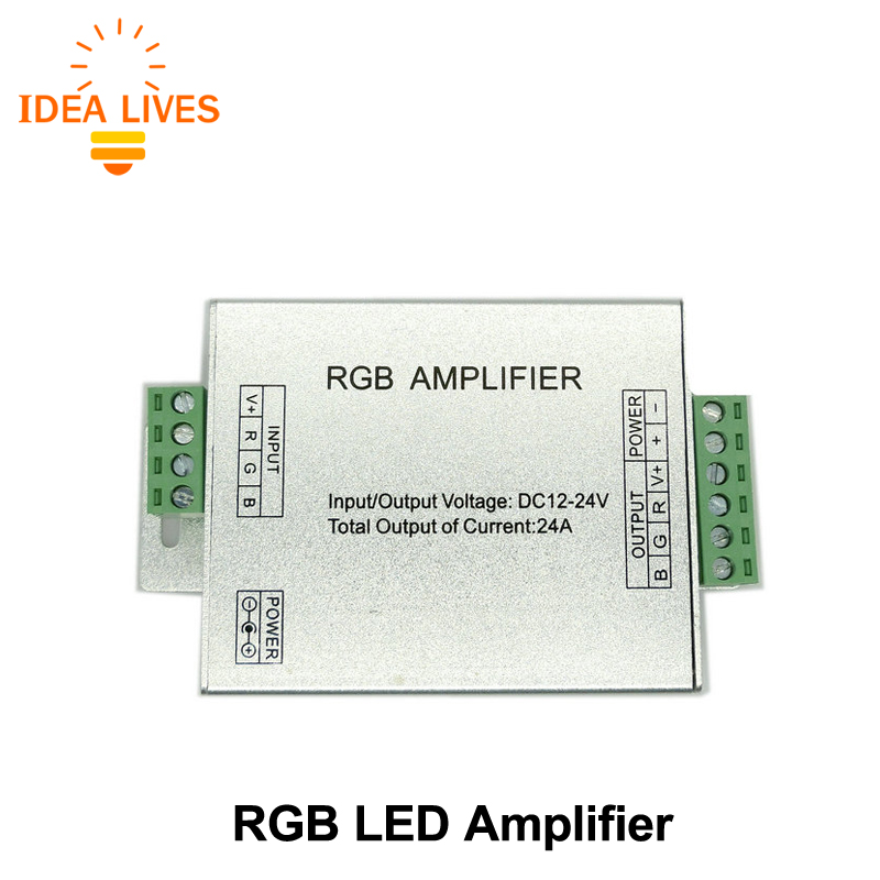 LED RGB Amplifier DC12-24V 24A RGB Amplifier for RGB LED Strip Power Repeater Console Controller.(China (Mainland))