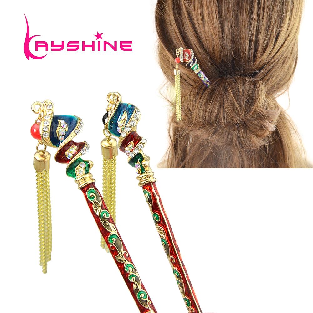 Fashion Hair Jewelry Gold Color Colorful Enamel Rhinestone Geometric Hair Sticks Hairwear Hair Accessories(China (Mainland))
