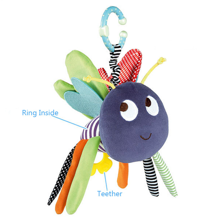 Baby Soft Bee Plush Toy Teether Colorful Stroller Crib Bed Hanging Ring Bell Baby Rattle Educational Doll brinquedos juguetes(China (Mainland))