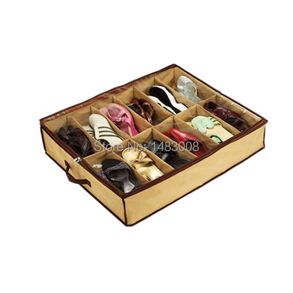 12 Pairs Fabric Intake Organizer Holder Shoes Box Case Bag Closet Container ETS8 High Quality(China (Mainland))