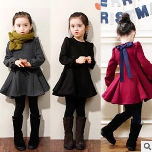 2015 Girls Autumn Winter Thick Velvet Princess Pleated Dress Baby Kids Poly Spun Velour Ruffles One-Piece Children Clothing Y416(China (Mainland))