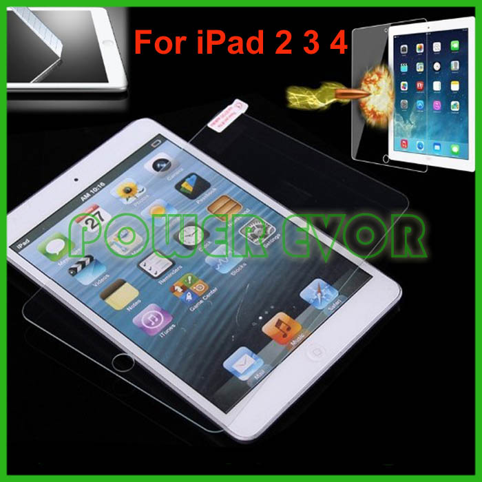New Tempered Glass Screen Protector Clear Film Cover Guard For Apple iPad 2 3 4 With Retail Package Free Shipping By DHL(China (Mainland))