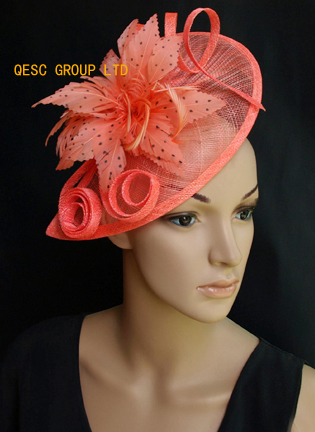Coral pink sinamay feather fascinator hat for Kentucky Derby,wedding,races and party.(China (Mainland))
