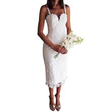 Summer Style White Black Lace Dress desigual Sexy V Neck Spaghetti Strap Bodycon Midi Dresses Lace Hollow Out vestidos de festa(China (Mainland))