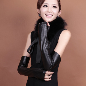 Winter ultra long women's genuine leather long thermal semi-finger lucy refers to gloves sheepskin gloves arm sleeve oversleeps