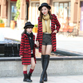 2016 Winter Cotton Mother Daughter Clothes Long sleeve Family Outfits Matching Outerwear Casual Argyle Coats For