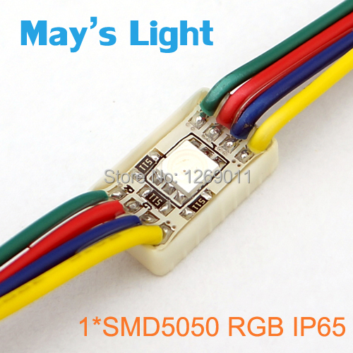 20pcs Free Shipping Rectangle 1 x SMD5050 RGB Waterproof LED Module for Advertising(China (Mainland))