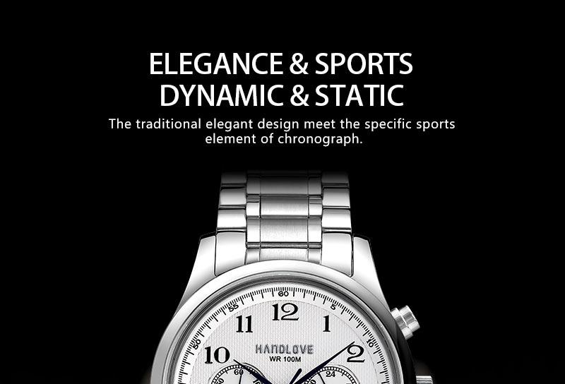 Элегантные Спортивные Часы Из Нержавеющей Стали Ремешок Кожаный Ремешок Хронограф H4.5709G