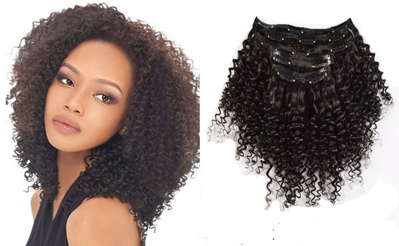 Mongolian Kinky Curly Hair Clip in Extensions African American Clip in Human Hair Extensions pince cheveux human hair extensions<br><br>Aliexpress
