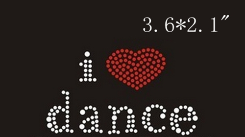 RY Free shipping I love dance image in iron on rhinestone transfer designs excellent quality(China (Mainland))
