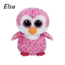 Original Ty Beanie Boos Big Eyes Plush Toy Doll Colorful Purple Penguin Baby Kids Gift 10-15 cm WJ159