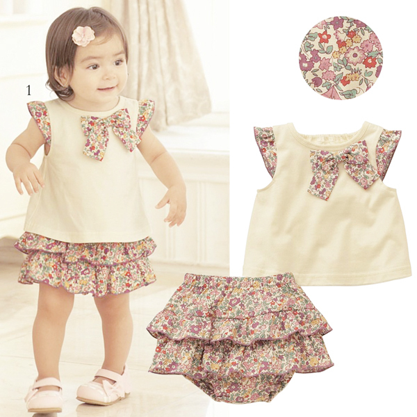 New Kids Flowers Bow-knot Tops+Ruffle Culottes 2PCS Set Outfits Girls Clothes 0-3Y(China (Mainland))