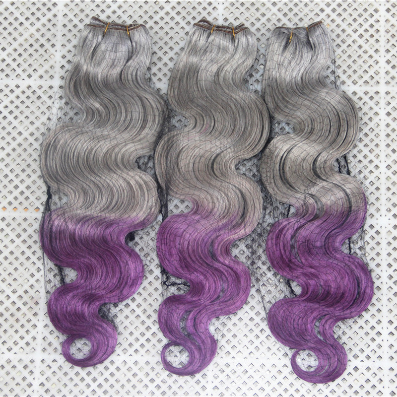 7A Cambodian Grey/ Purple Ombre Hair Weave Body Wave 3pcs/lot Free Shipping Factory Outlet 100% Best Quality Human Hair Bundles<br><br>Aliexpress